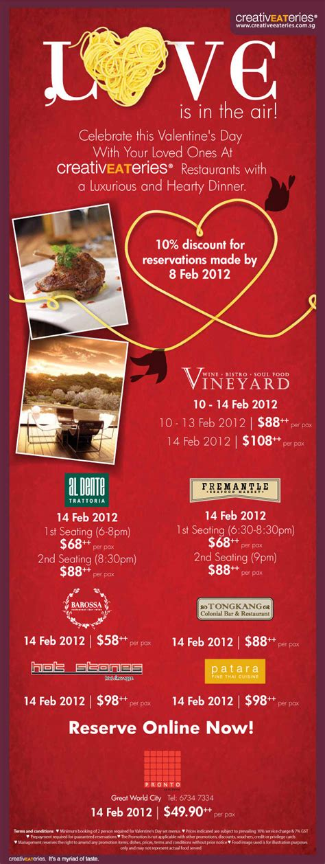 day restaurant promotions valentine s day promotions singapore fremantle al