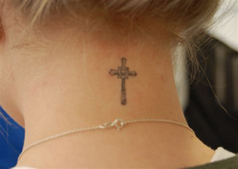 small cross tattoos on neck the exle of small cross tattoos for