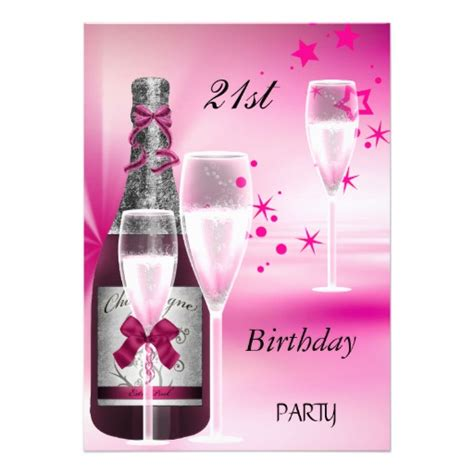 21 Birthday Card Design 21st Birthday Party Pink Chagne 21 Personalized