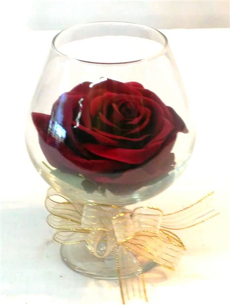 forever rose in glass forever rose in brandy glass g 1705 fiesta flowers