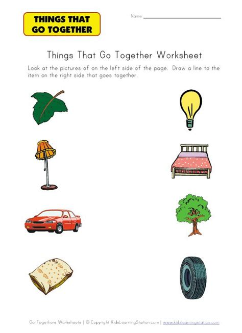 matching go togethers worksheet early intervention