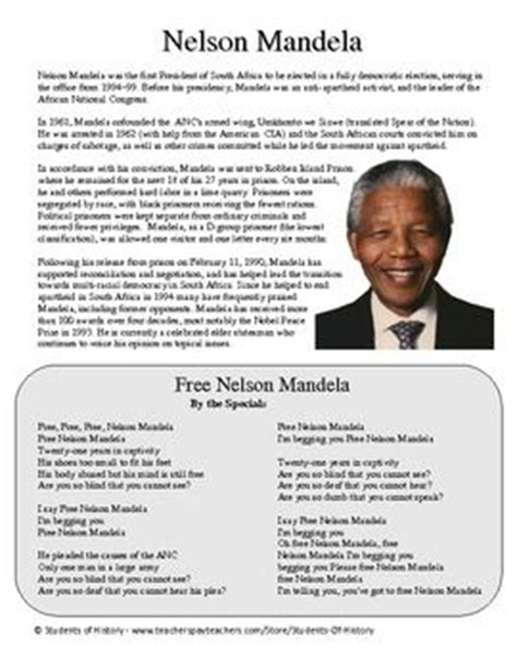 nelson mandela biography middle school nelson mandela biography of nelson mandela and worksheets