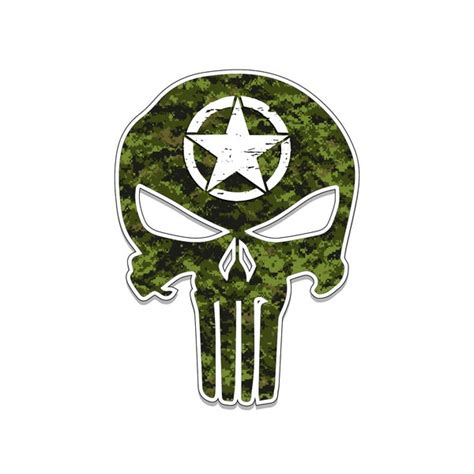 US Army Punisher Skull Star Vinyl Decal Car Truck Laptop sticker Veteran Troop   Low Priced