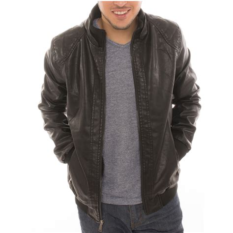 faux leather bomber s motorcycle bomber faux leather jacket fleece lined