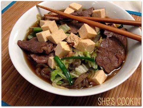 pm sukiyaki sukiyaki with tofu and shirataki noodles she s cookin