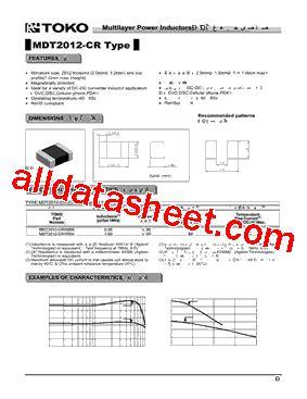 toko inductor datasheet mdt2012 cr1r0n datasheet pdf toko inc