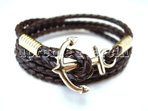 Bravelet Leather Gelang Etnik Anchor Silver silver gold steel anchor cuff multi color faux woven leather bracelet