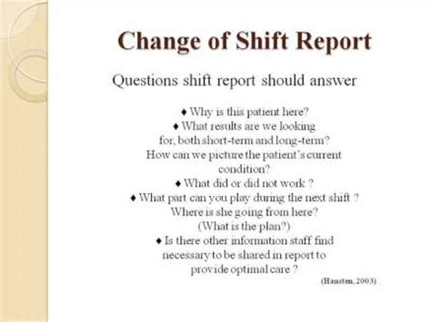 end of shift nursing report template change of shift report