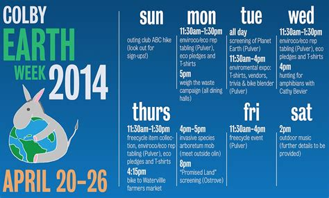 Colby Academic Calendar Earth Week 2014 Events April 20 26 News Colby College