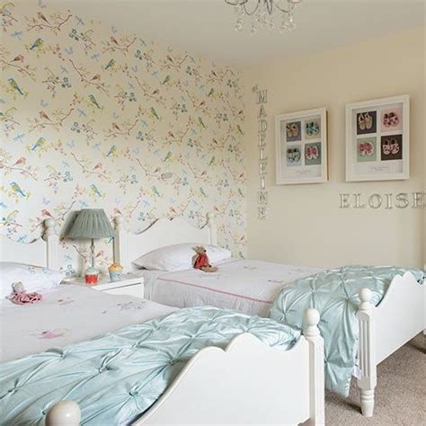 wallpaper kids bedrooms girls twin bedroom with bird wallpaper children s room