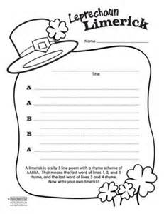 limerick writing template easter and st s day printables happy