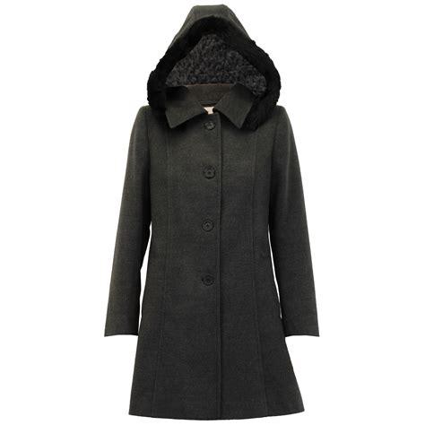 Hooded Coat coat womens jacket wool look faux fur button