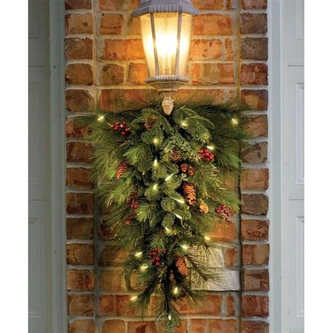 sears outdoor lighted christmas garland decorated cordless prelit teardrop swag outdoor garland see notes garlands