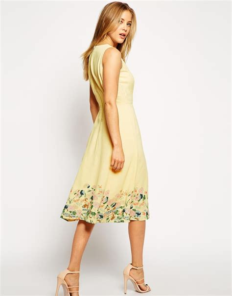 Dress In asos midi dress in botanical border print in yellow lyst