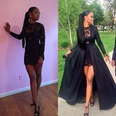 Lace Patchwork Prom Dress black patchwork lace neck sleeve fashion two