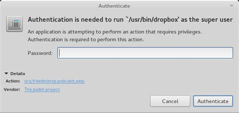 xubuntu 15 10 dropbox icon fail ask ubuntu dropbox quot authentication is needed to run usr bin dropbox