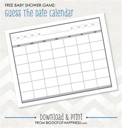 Baby Shower Game Ideas Guess The Date Free Printable Big Dot Of Happiness Guessing Template