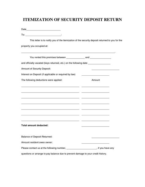 Rent Deduction Letter 40 Awesome Security Deposit Form Images Rental Awesome