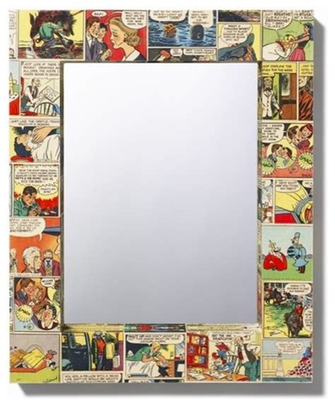 Decoupage Mirror - comic decoupage mirror by bombus on etsy eclectic wall