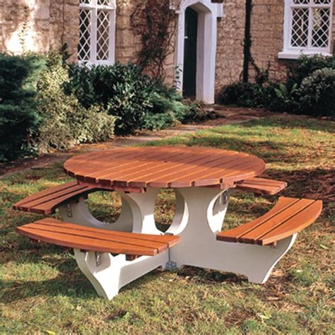 circular picnic benches big timber concrete picnic tables from parrs workplace