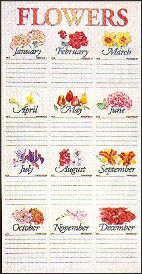 flower chart calendar template 2016
