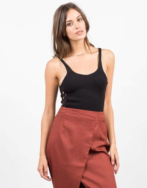Cross Crop Top N3739 criss cross crop top black tank brown top 2020ave