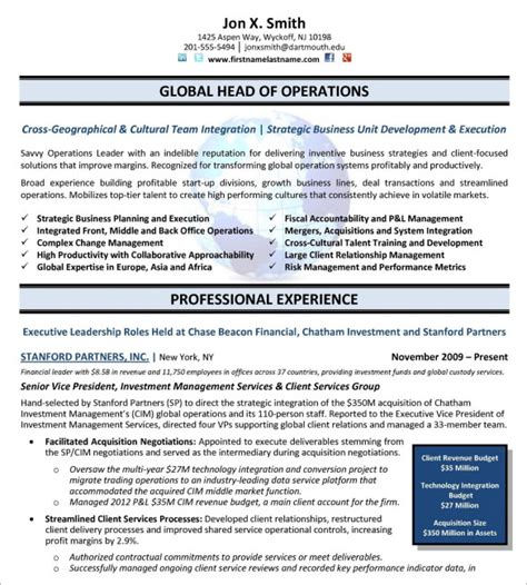Executive Resumes Templates by 10 Executive Resume Templates Free Sles Exles