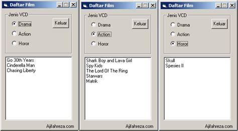 membuat option html cara membuat daftar dengan option dan list di vb6