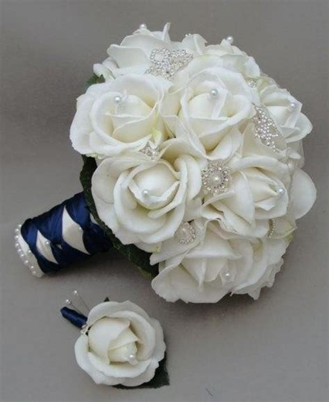 Real Bridal Bouquets by Navy Blue And White Wedding Flowers