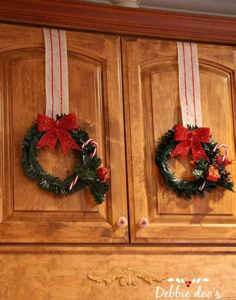 dollar store christmas wreaths in the kitchen debbiedoos
