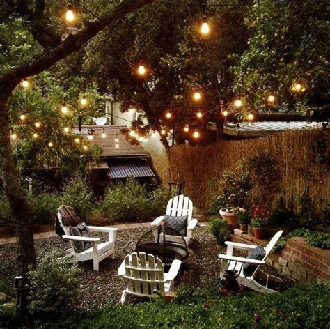 Outdoor room ambience globe string lights patio
