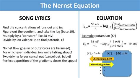 the nernst equation science music video youtube