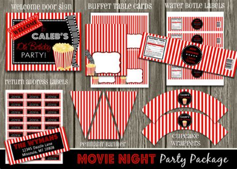 printable  night birthday party package decorations