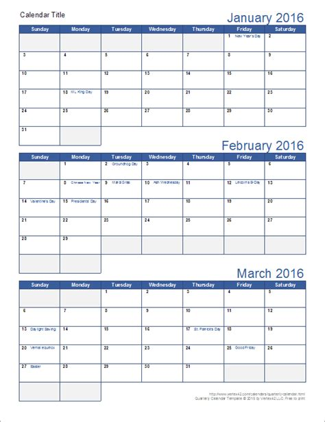 excel quarterly calendar template quarterly calendar template