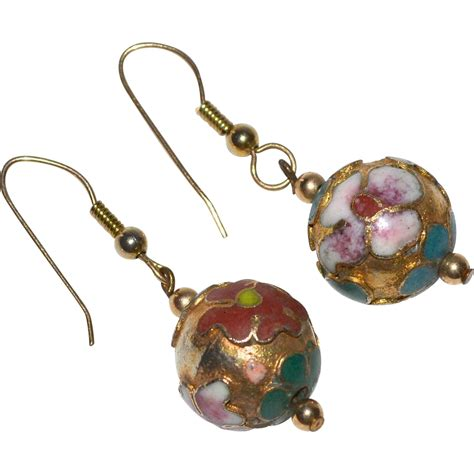 cloisonne enamel flower gilded dangle earrings