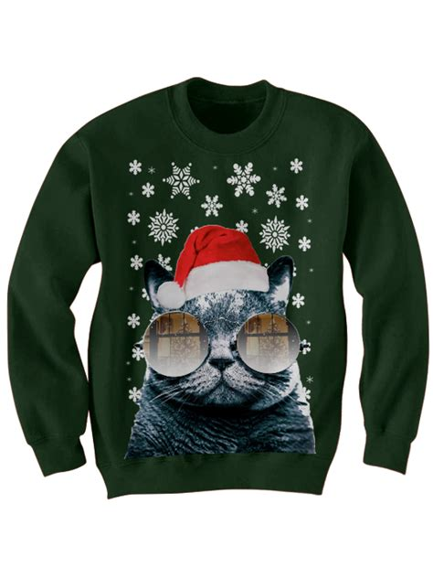 Sweater Cat April Merch sweater santa cat sweater cat with glasses sweater gifts