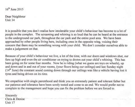 angry neighbors letter complaining single dads