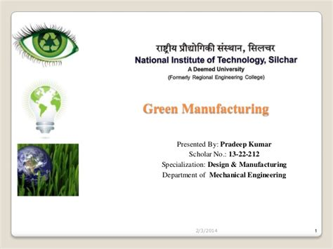 design for green manufacturing green manufacturing