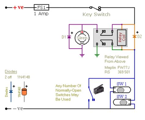 relay based motorcycle alarm circuit diagrams circuitsan