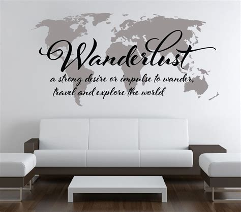 wall stickers world wanderlust travel quote world map wall decal