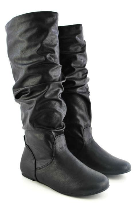 black pu leather flat slouchy knee high boots casual