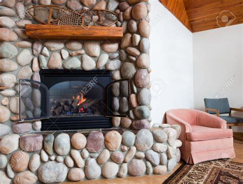 rocks for gas fireplace river rock gas fireplace fireplace design ideas