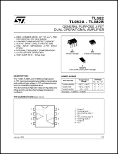 a798 dual transistor datasheet tl082c datasheet general purpose dual jfet op s from sgs thomson microelectronics