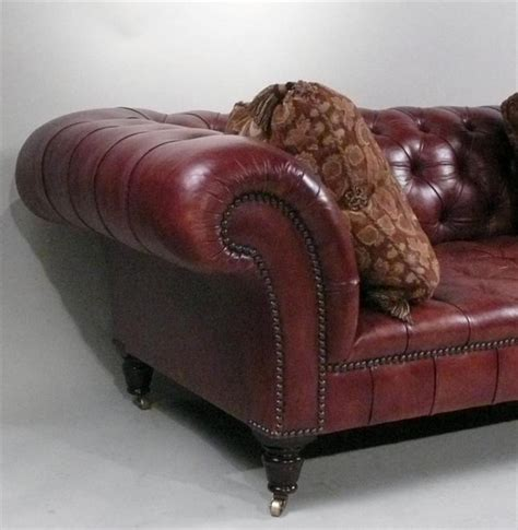 George Smith Furniture by Handsome Classic George Smith Leather Chesterfield Sofa At 1stdibs