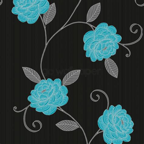 teal and black wallpaper uk teal flower wallpaper wallpapersafari