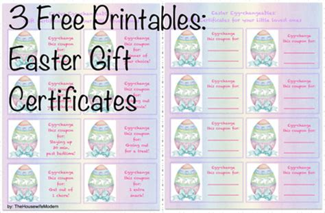 printable gift certificates for easter 3 free printables easter gift certificates the