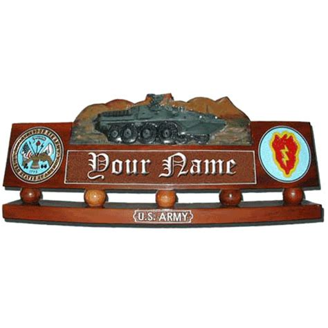 wooden desk plate carved desk name plate us army stryker brigade