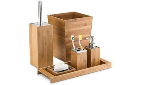 Home Bargains Bathroom Accessories by Home Basics Bamboo Bathroom Accessories Groupon