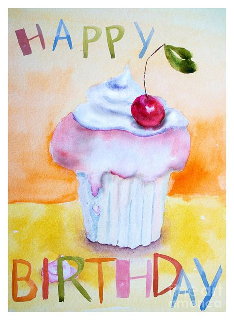 birthday painting cake with insription happy birthday painting by