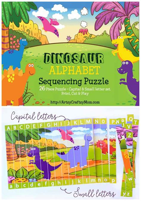 printable dinosaur alphabet book printable dinosaur alphabet sequencing puzzle artsy